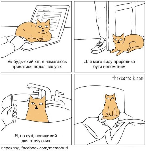 Смішний комікс про кота. Кіт: - Як будь-який кіт, я намагаюсь триматися подалі від усіх (сидячи на клавіатурі, коли людина працює). Для мого виду природньо бути непомітним (сидячи біля дверей, не даючи господареві їх прочинити). Я, по суті, невидимий для оточуючих (сидячи у вмивальнику, коли людина чистить зуби, а потім вночі сидячи на обличчі сплячої людини)