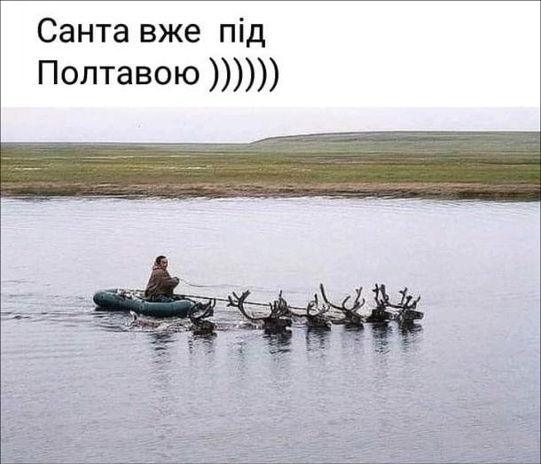 Мем Санта і олені. Чоловік пливе на човні, запряженому оленями. Санта вже під Полтавою