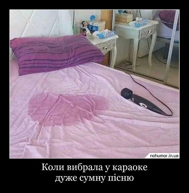 Прикол Вібратор на ліжку і поряд мокра пляма. Коли вибрала у караоке дуже сумну пісню