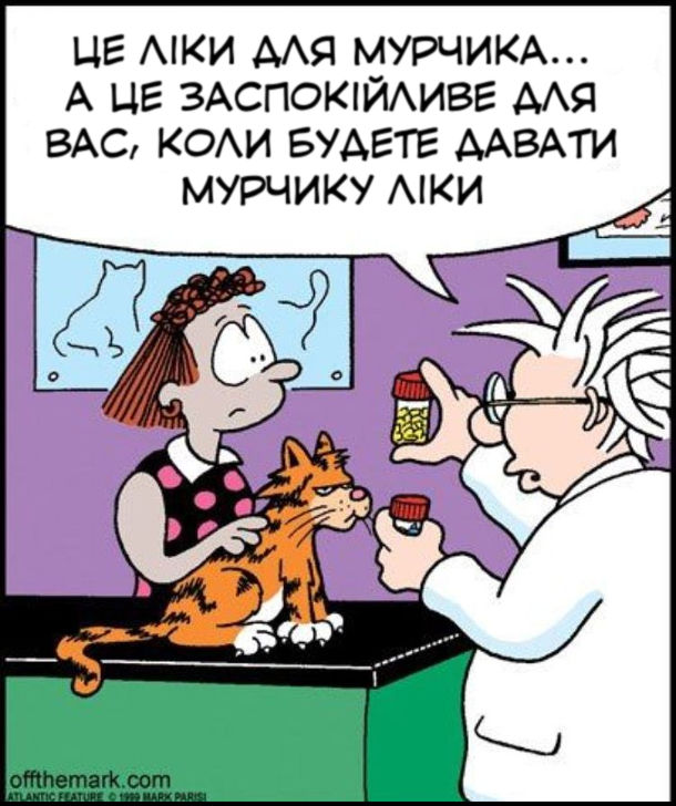 Смішний малюнок про ветеринара. До ветеринара прийшла жінка з котом. Ветеринар: - Це ліки для Мурчика... А це заспокійливе для вас, коли будете давати Мурчику ліки