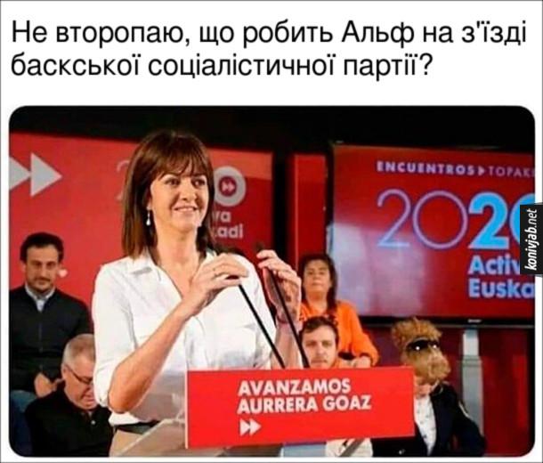 Прикольна оптична ілюзія. Не второпаю, що робить Альф на з'їзді баскської соціалістичної партії?