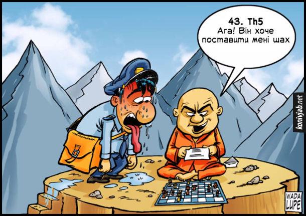 Смішний малюнок Дистанційна партія в шахи. Сидить монах на верхівці гори з шахівницею. До нього вилазить листоноша і дає лист. Монах каже: 43. Th5 Ага! Він хоче поставити мені шах
