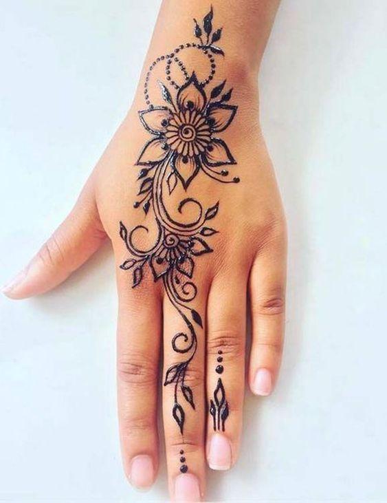 Indo _ Arabic Flower Mehndi Design