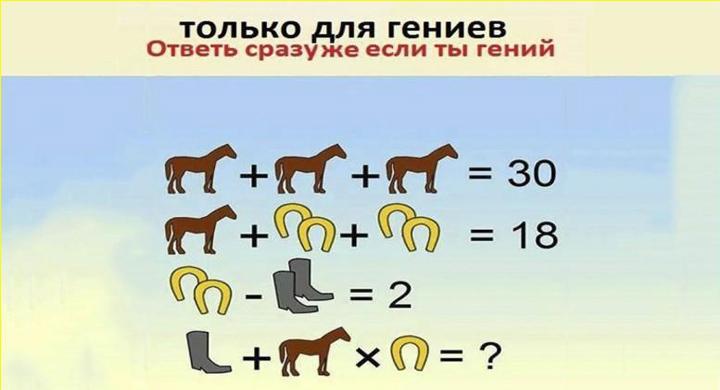 Такую задачу способен решить только гений. Отвечай не раздумывая.