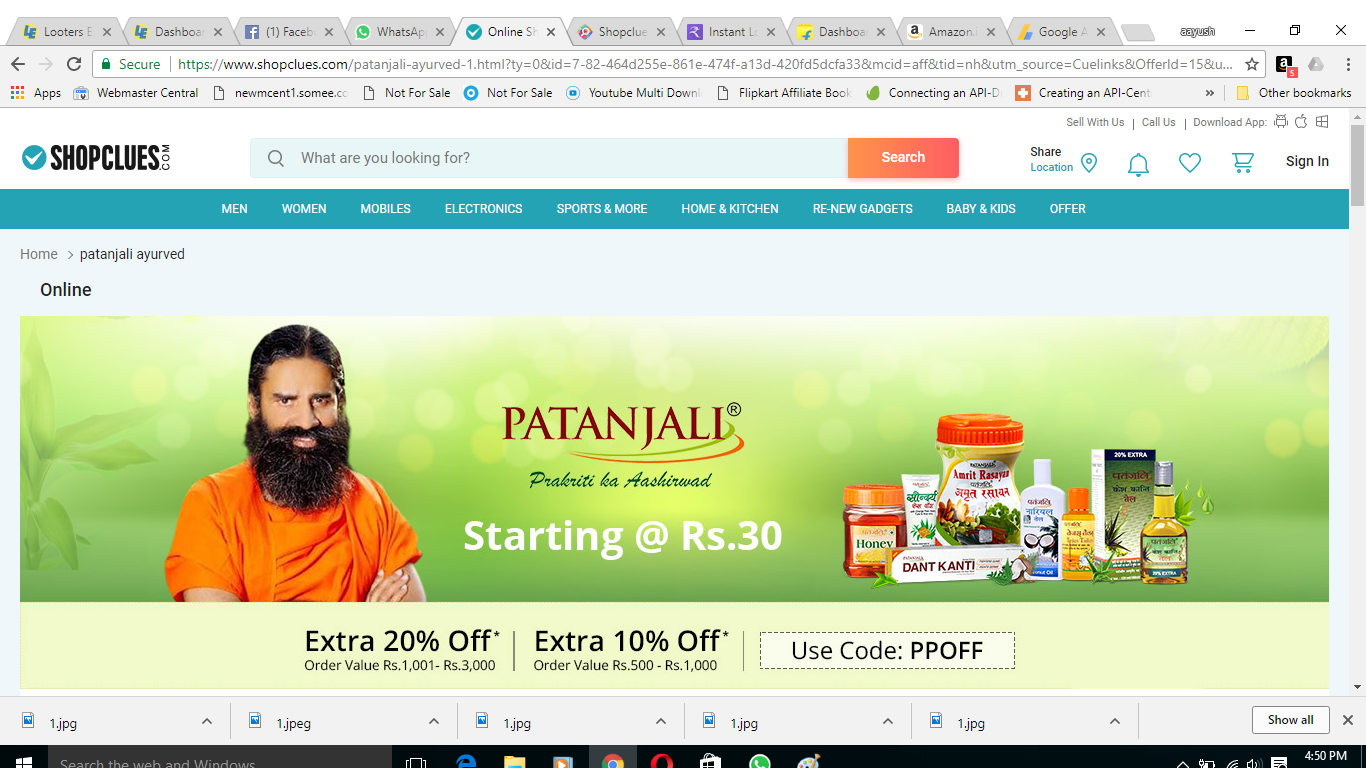 Patanjali products starting at Rs.30 + extra 20% off on order value of Rs.1001 and 10% off on above Rs.500