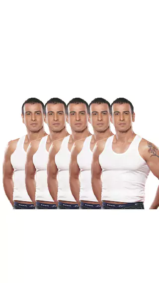 Rupa Jon Pack Of 5 White Sleeveless Combed Cotton Vests at Rs.94 only