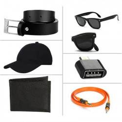 Jack Klein Combo of Black Belt, Wallet, Foldable Sunglass, Otg, Aux Cable And Stylish Cap(Assorted Colour) at Rs.60 only