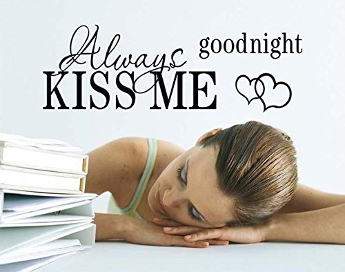 Syga 'Kiss Me Wall Quotes' Wall Sticker (PVC Vinyl, 30 cm x 5 cm x 5 cm, Black)