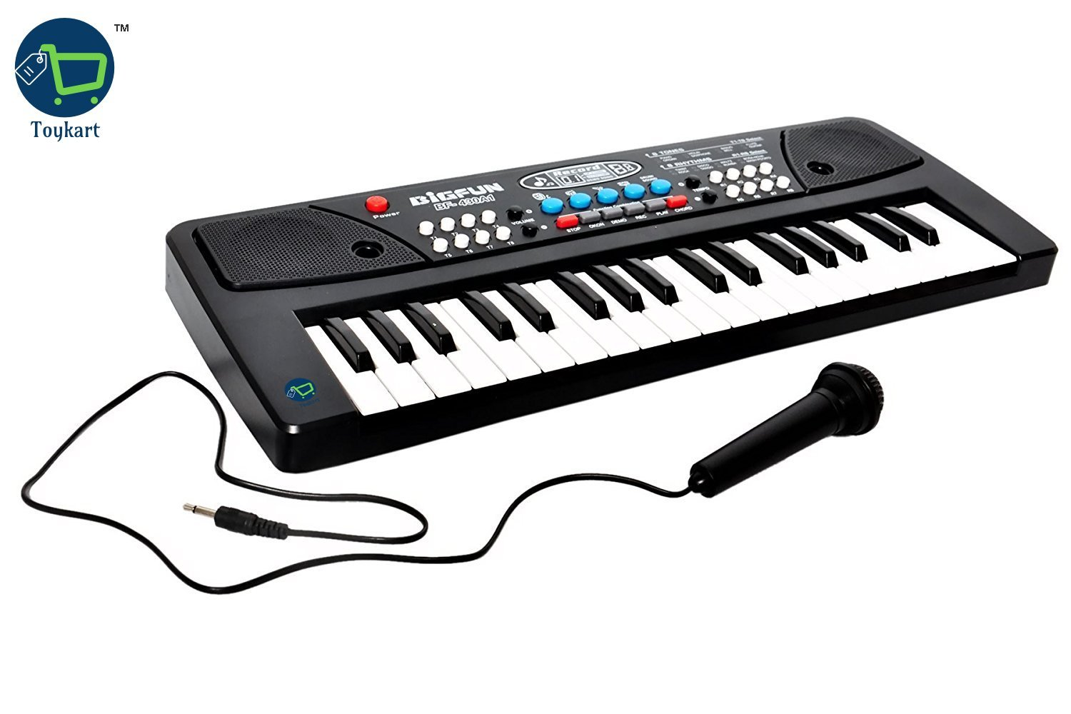 Toykart 37 Key Piano Keyboard Toy with DC Power Option, Recording and Mic for Kids