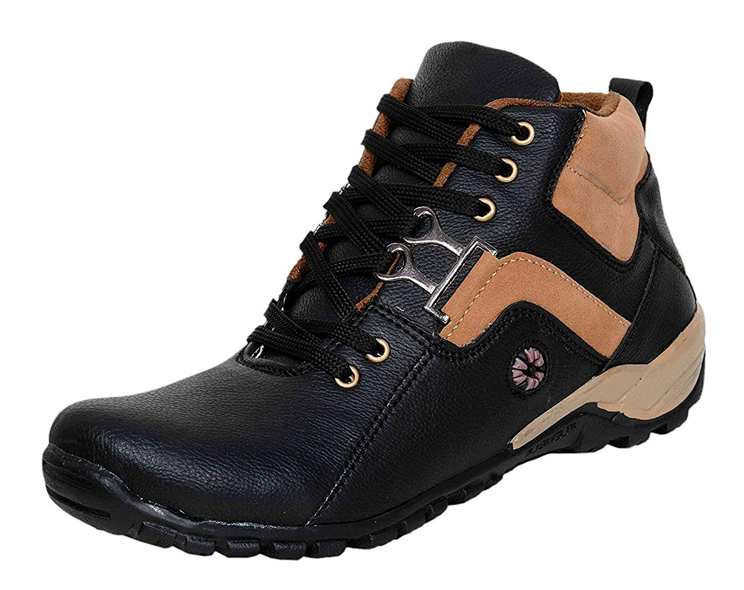 MOONSTER Stylish Men's Synthetic Leather Mid Ankle Length Boots Shoes for Men and Boys