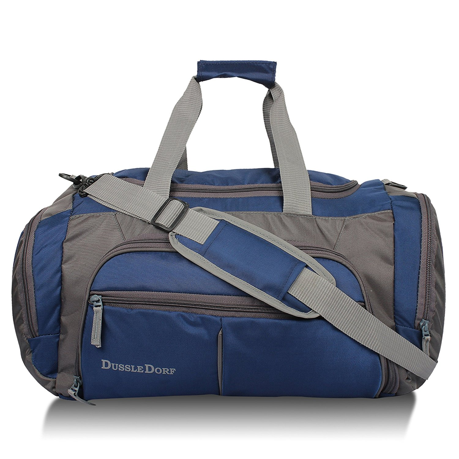 Dussle Dorf Polyester 45 liters Navy Blue and Grey Travel Duffle Bag by DUSSLE DORF
