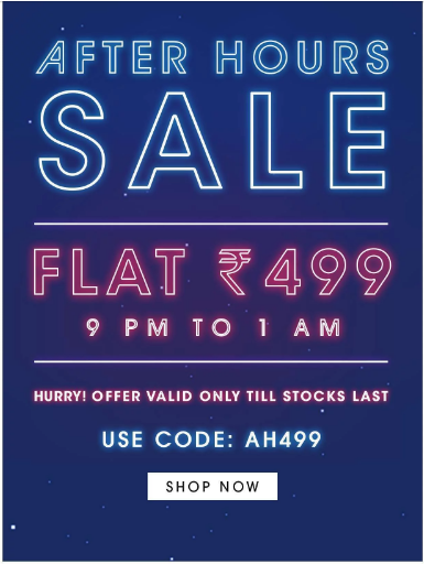 NNNOW : Clothing at Flat Rs.499 (Upto 1AM)