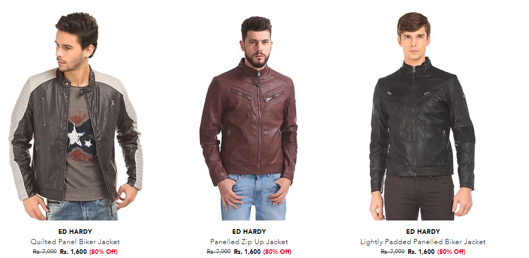 Flat 80% Off On ED Hardy leather Jackets.