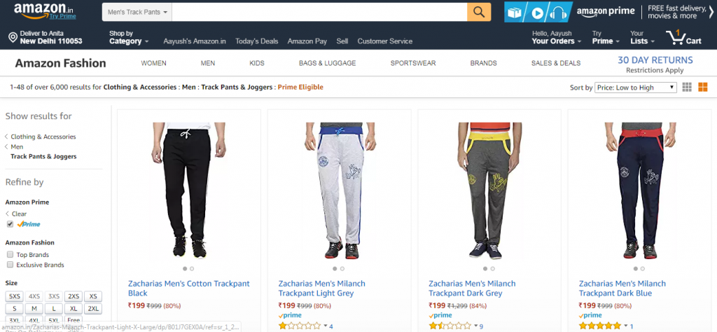 Men trackpants starting at Rs.199 only