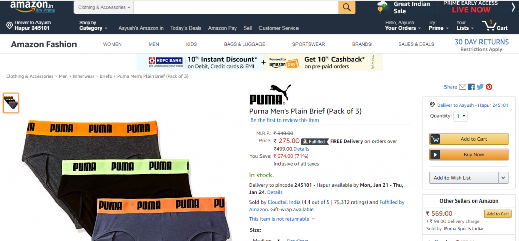 image 46 1024x476 - Puma Men's Plain Brief (Pack of 3) at Rs.275 only