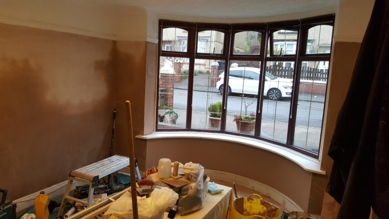 Newly plastered room and bay window plus new floor