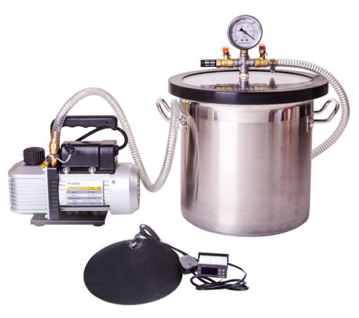 Stainless Steel Vacuum Chamber, Heat Mat & Pump Kit