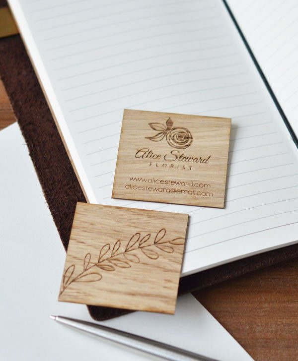 wooden business card square