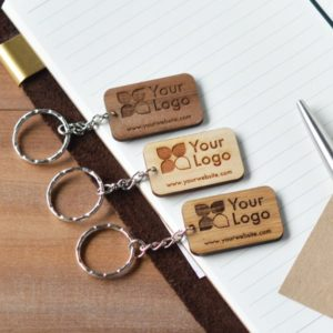 rectangular wood keychain
