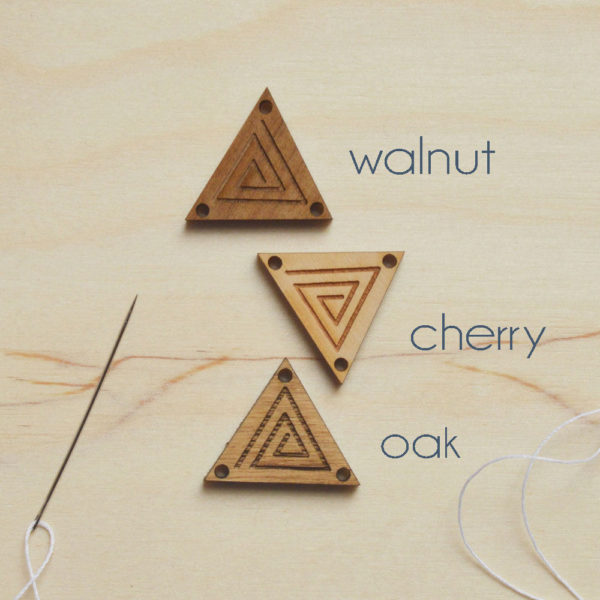 triangular wooden tags