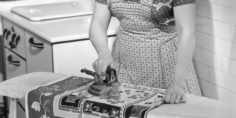 1950s housewife schedule , ironing
