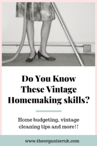 Vintage homemaking skills, 50's woman vacuuming