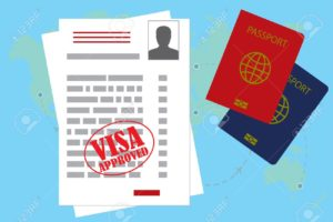 visa approved blank or work permit and passport. Flat design, vector illustration