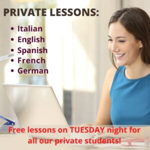 Online private lessons: italian, english, spanish, german, french.