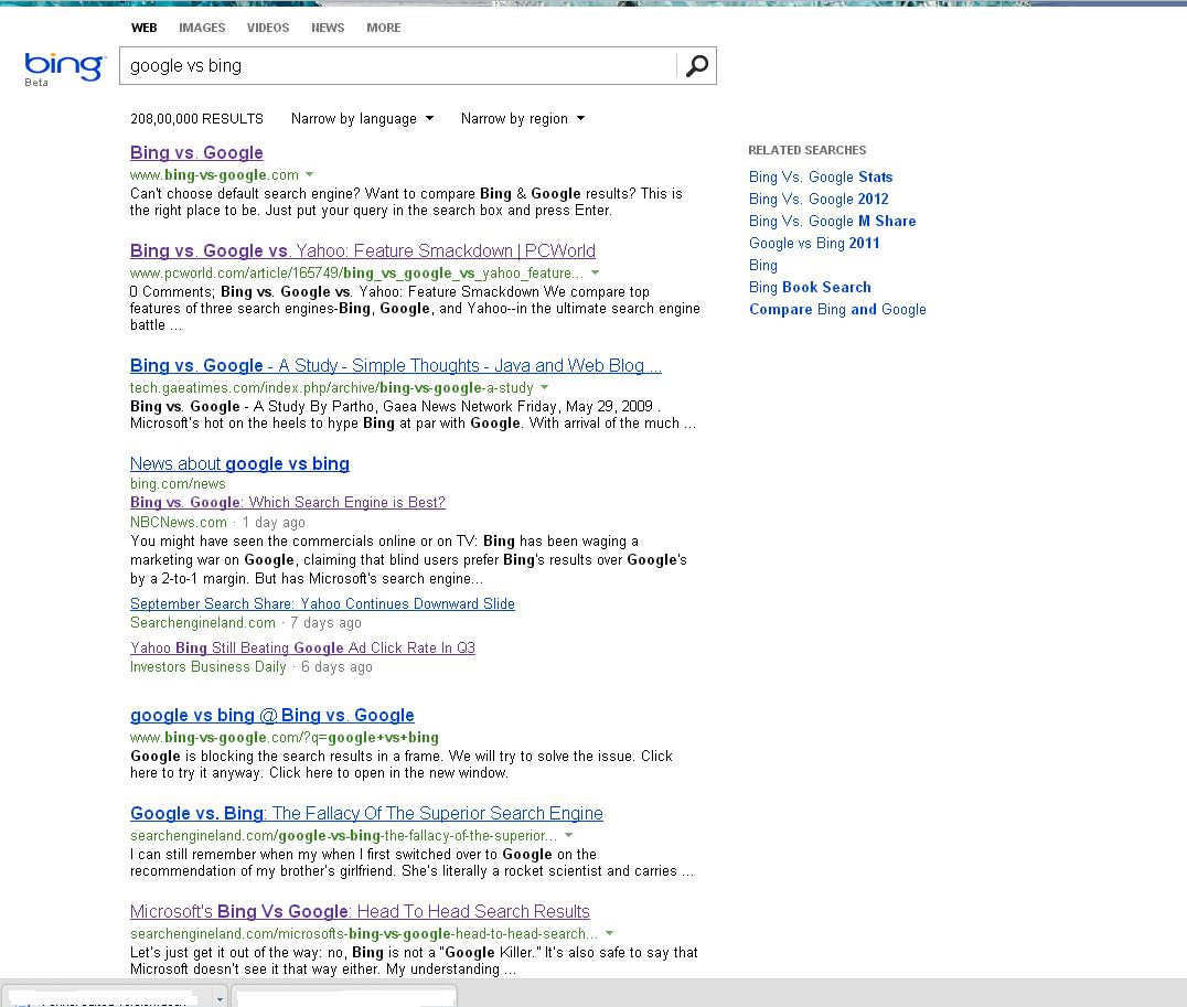Bing Search Result for Google Vs Bing