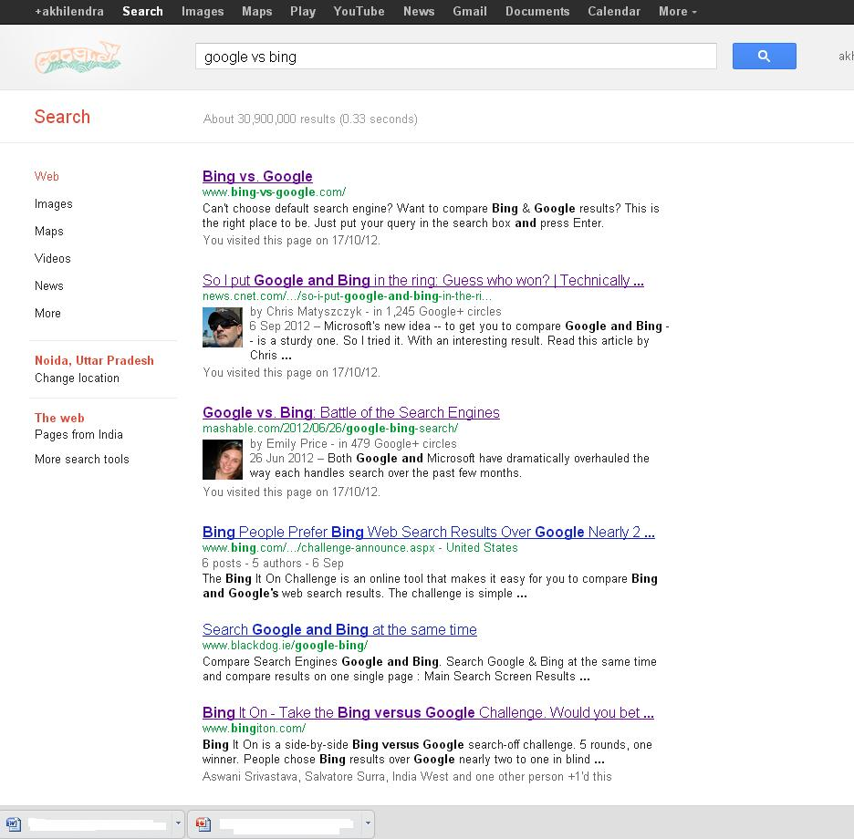 Google search result for Google Vs Bing