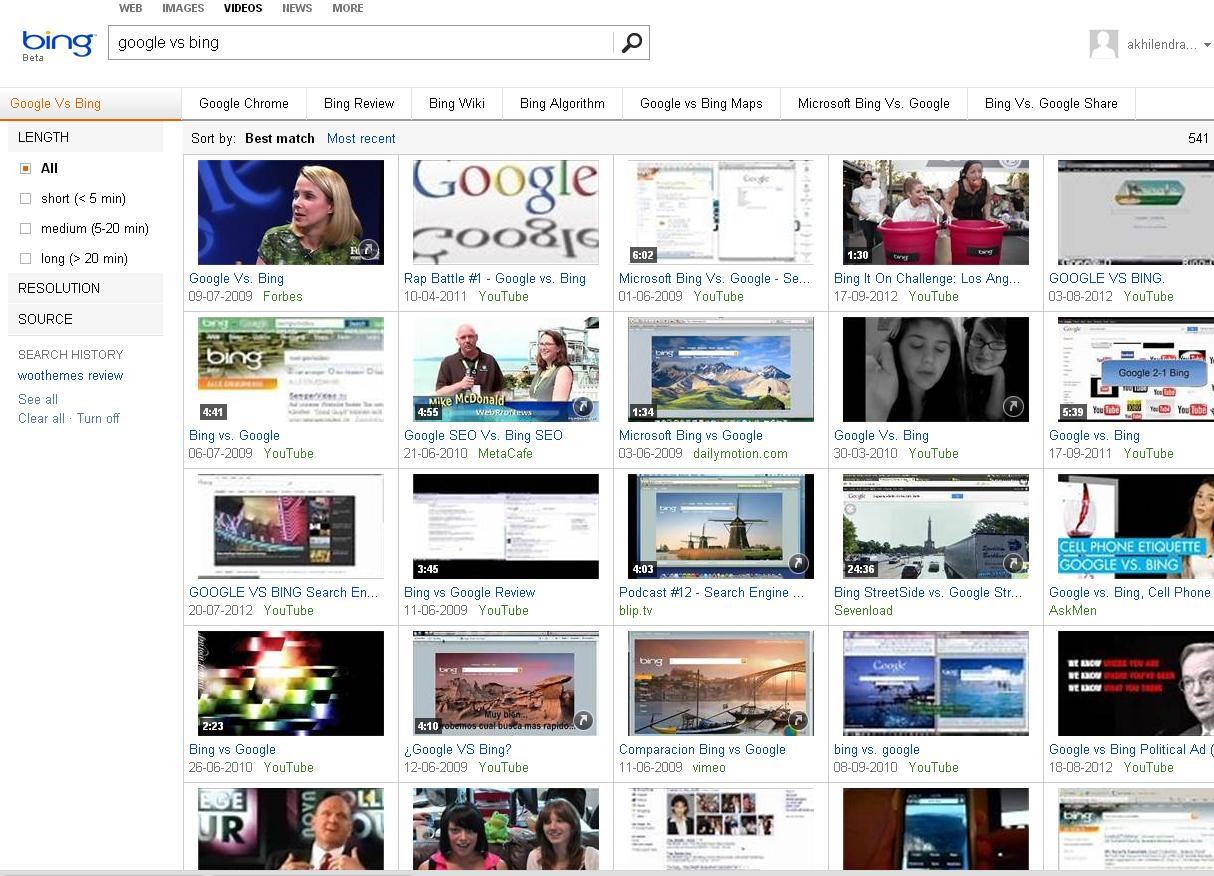 Bing Video Search result in comparison of Google