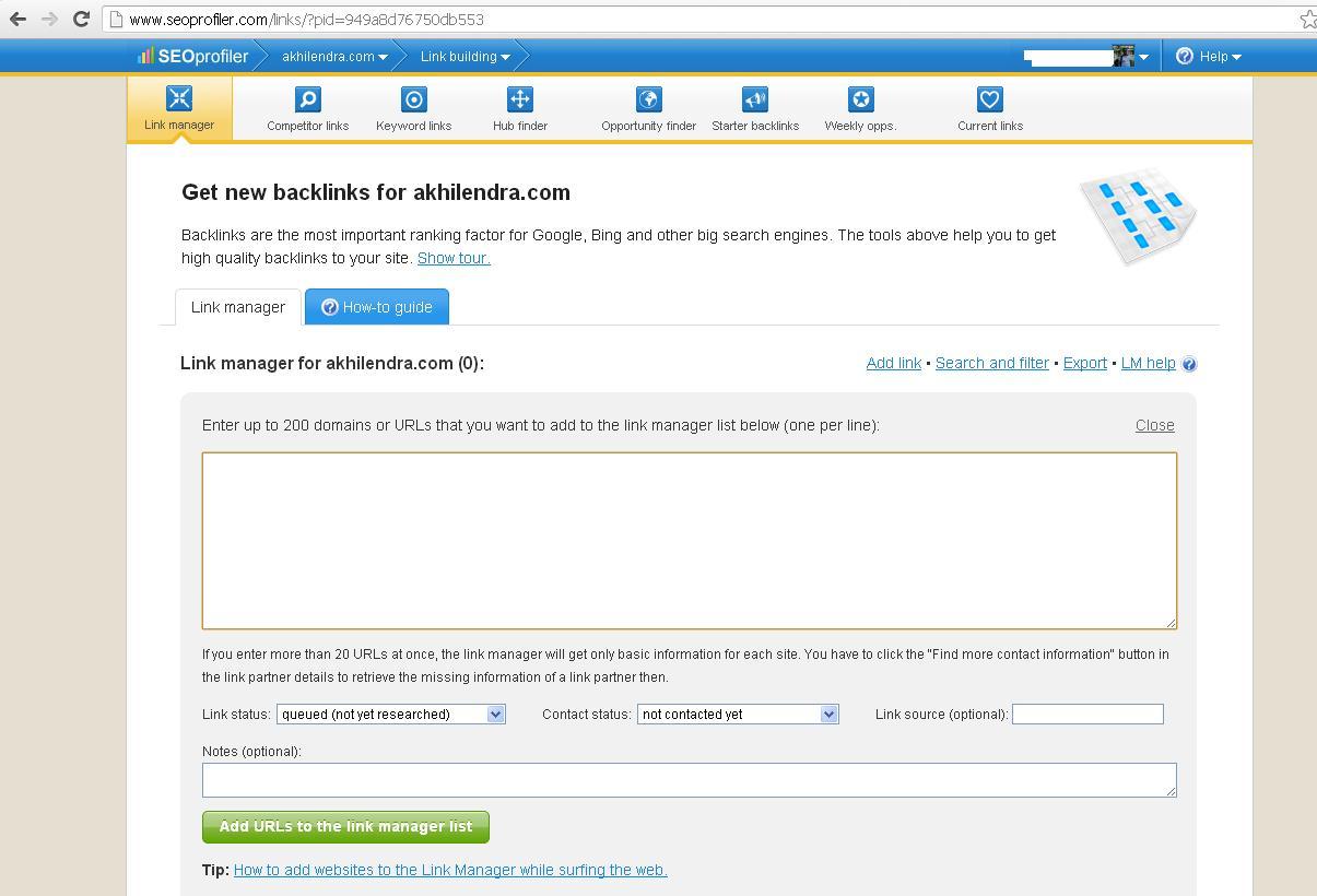 seoprofiler link manager