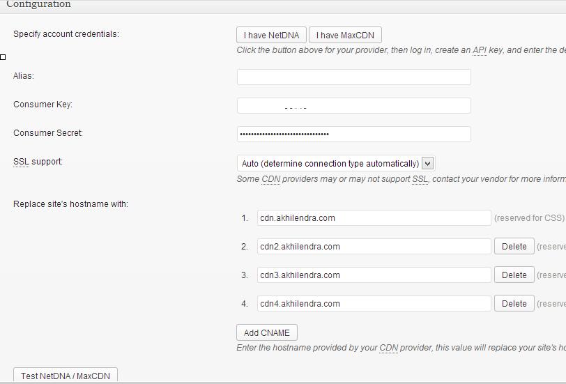 maxcdn settings in w3 total cache