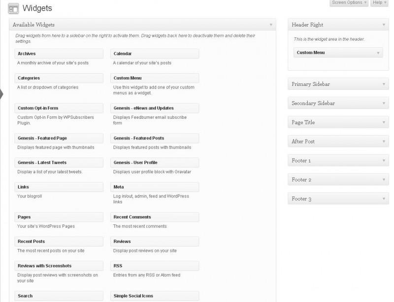 widgets in studiopress themes
