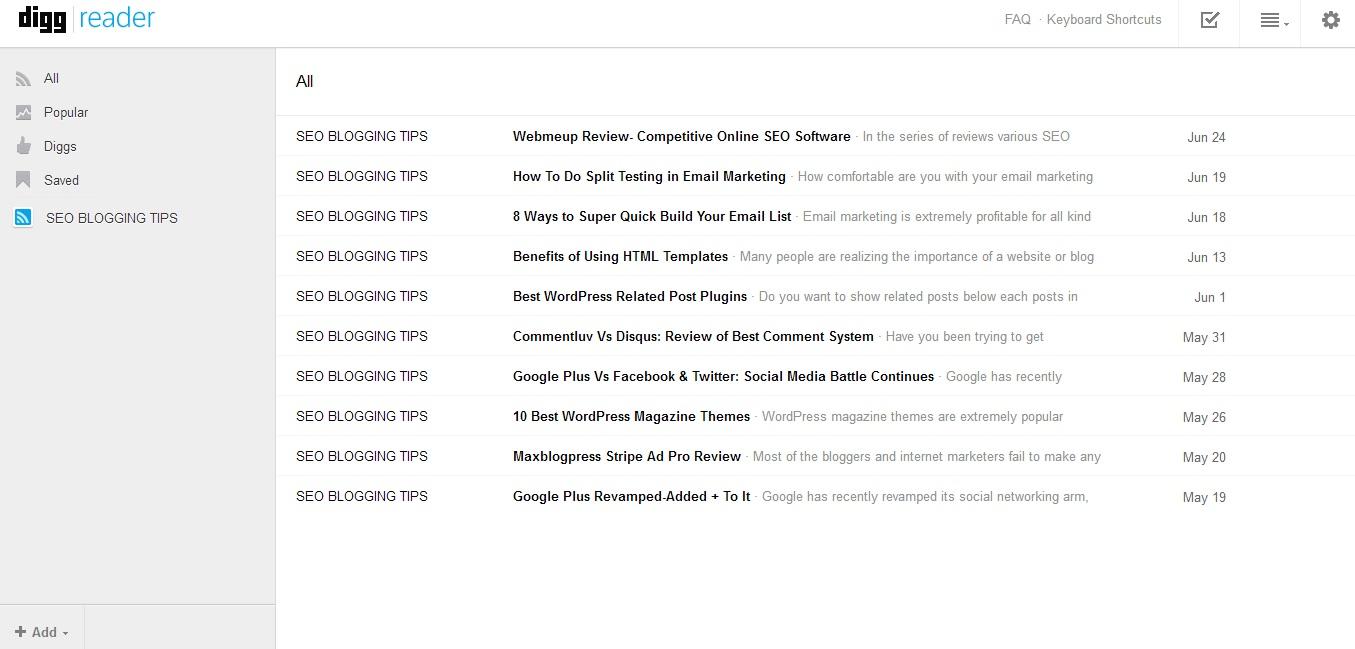 Digg Google Reader