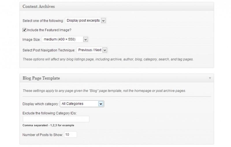 Blog settings in studiopress themes