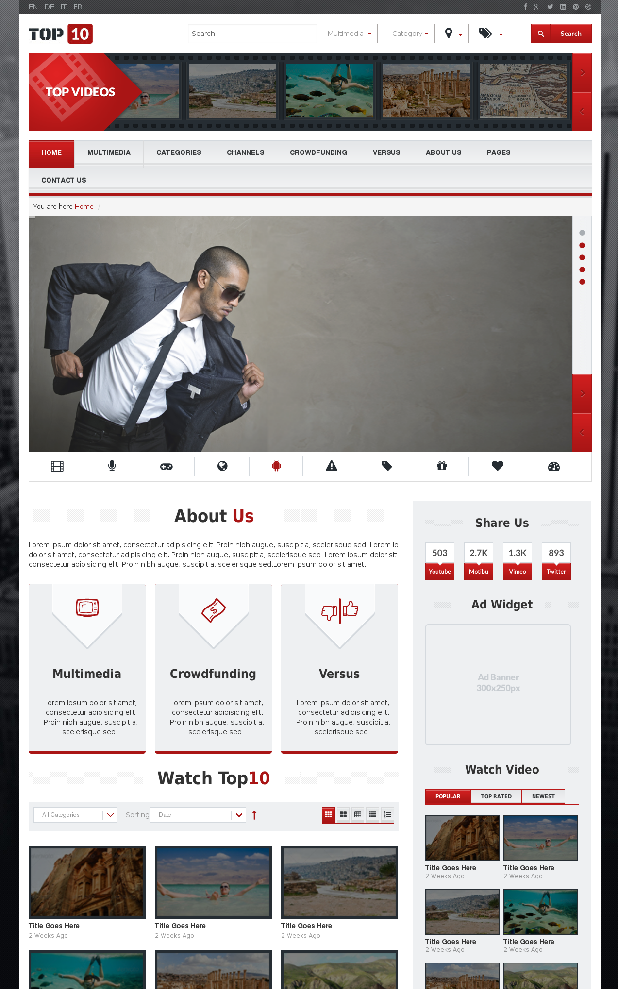 Multimedia Tube website template