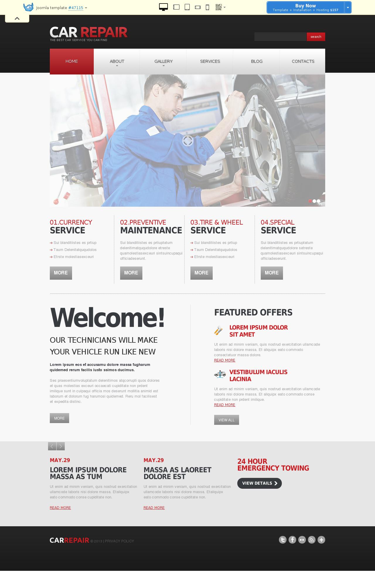 Car Repair Responsive Joomla Template #47115