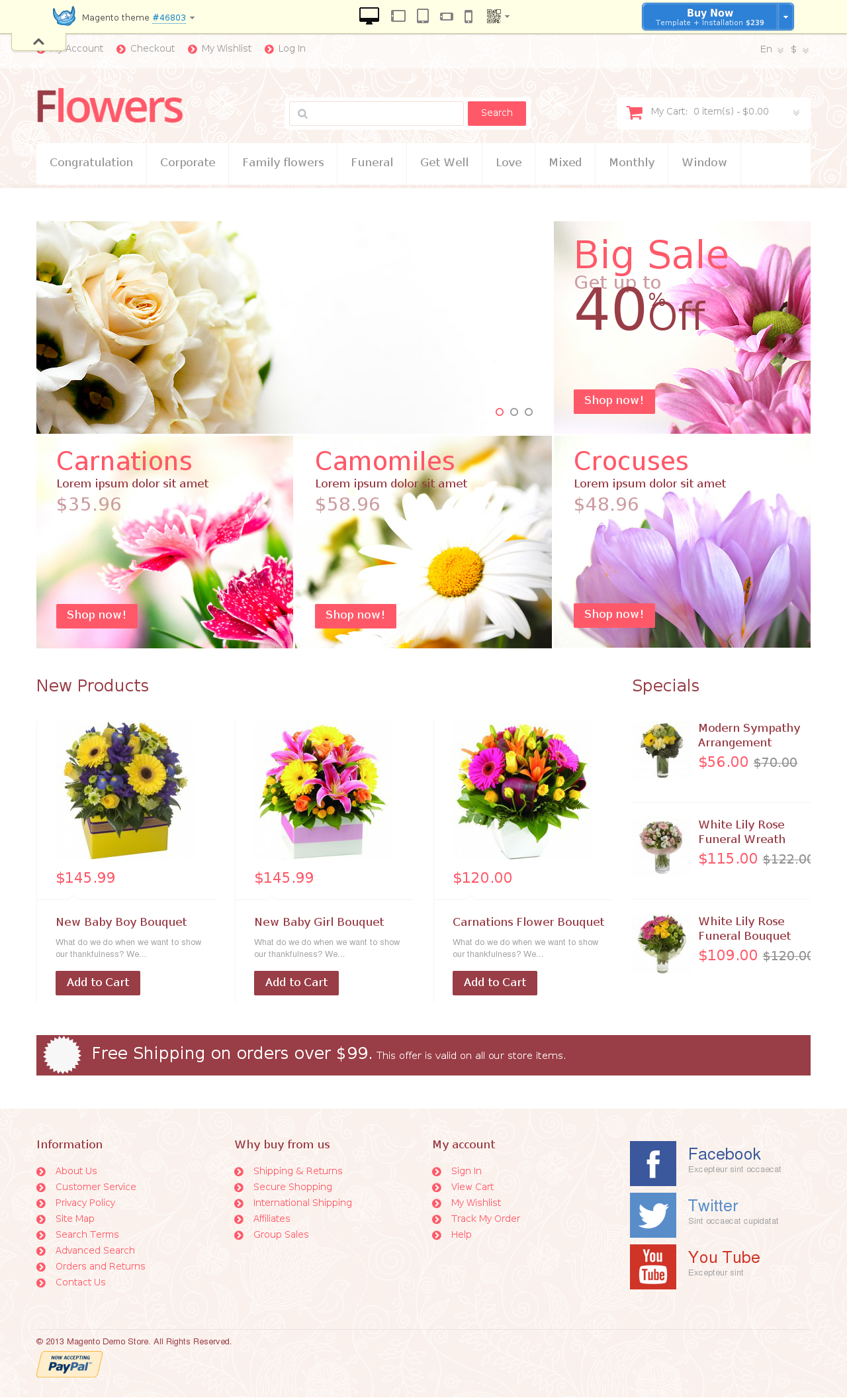Flowers For Any Occasion Magento Theme #46803