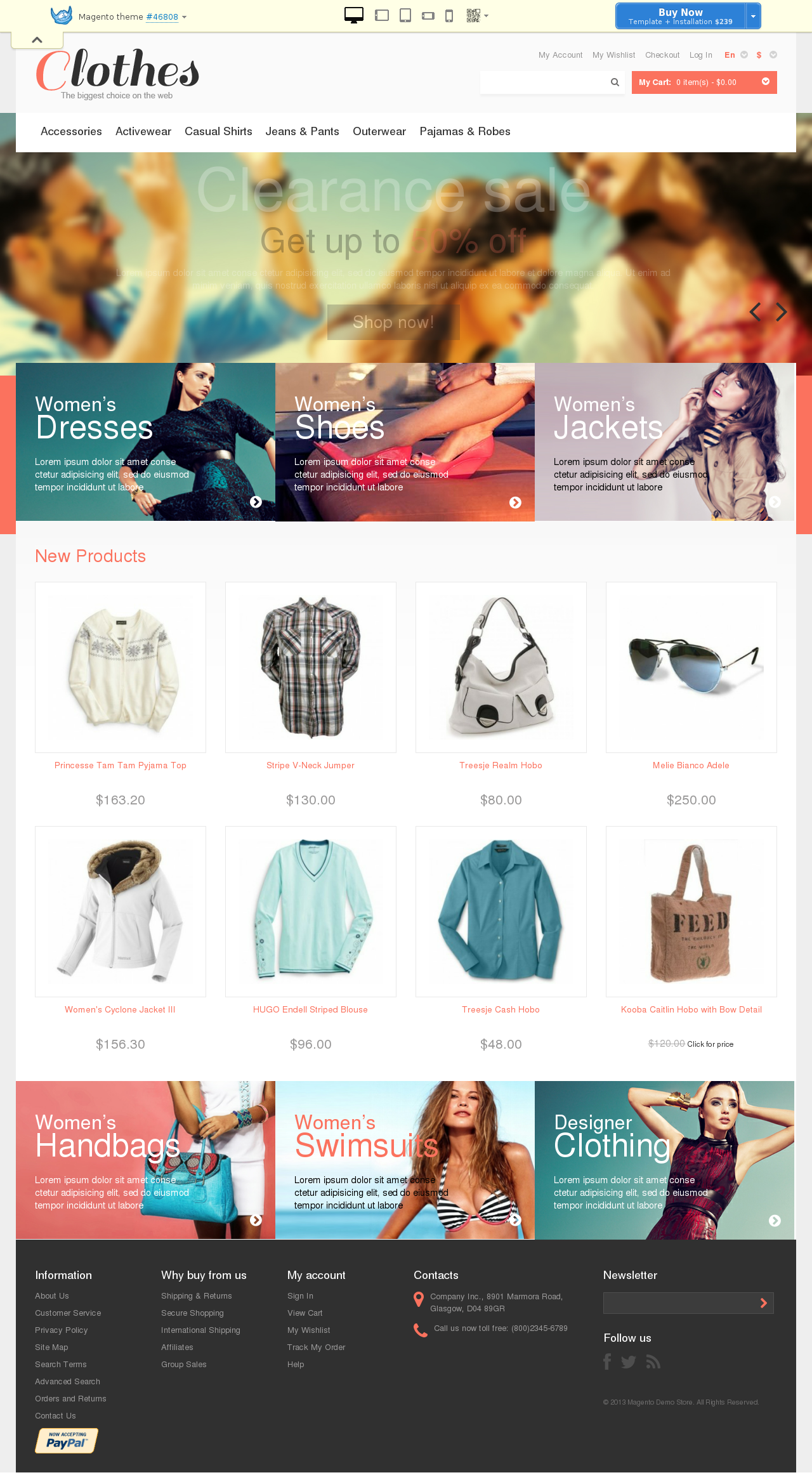 Responsive Clothes Store Magento Theme #46808