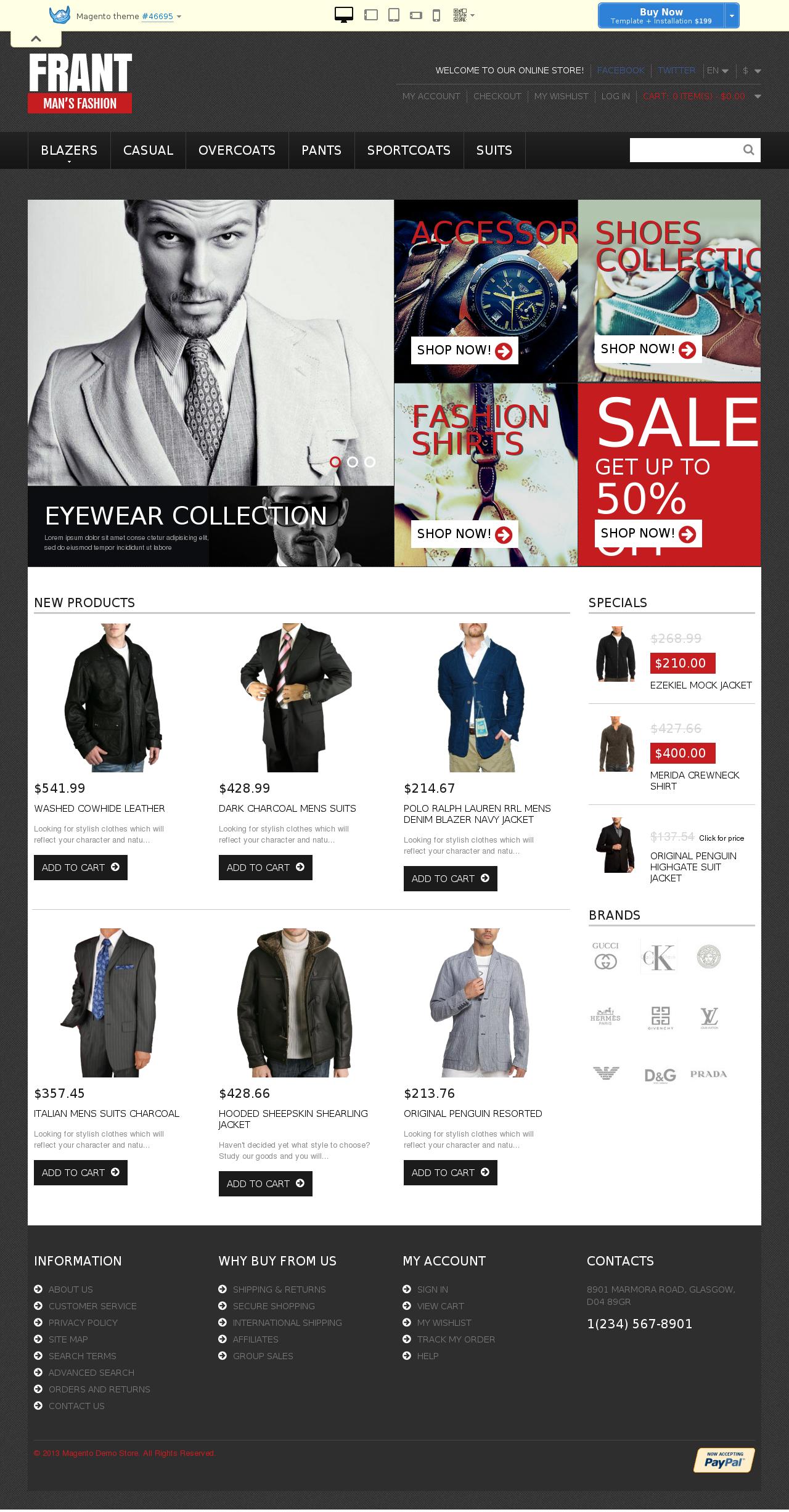 Responsive Men's Fashion Store Magento Theme #46695