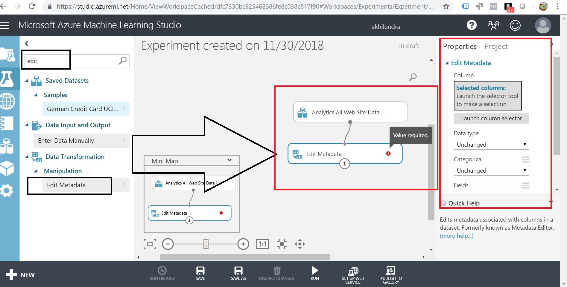 edit metadata in azure ml studio