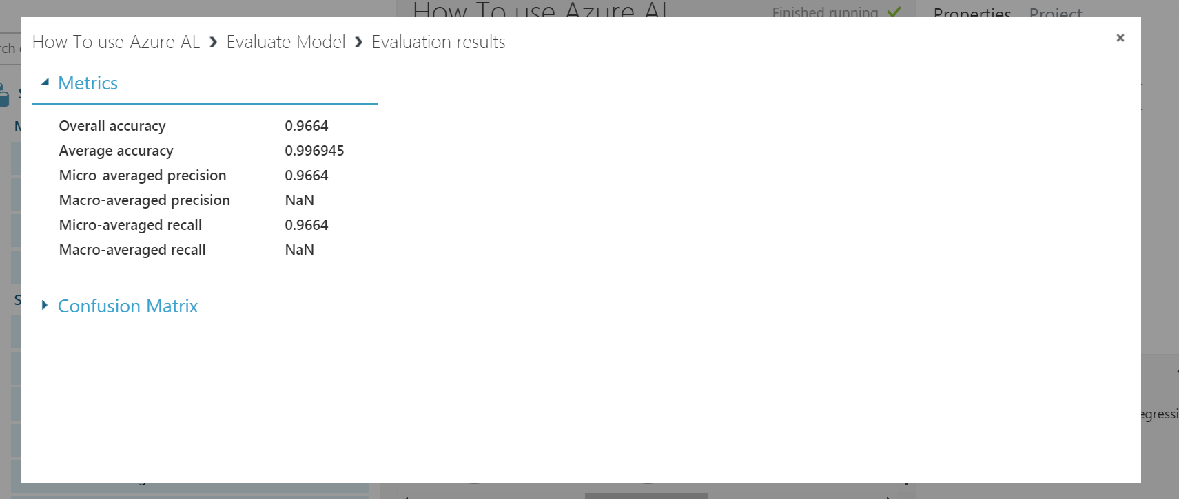 evaluation results in azure