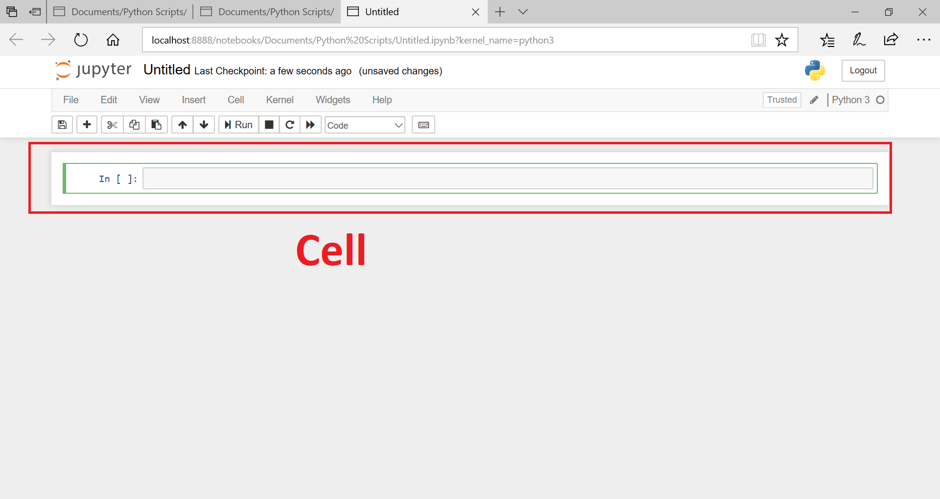 cell in jupyter notebook