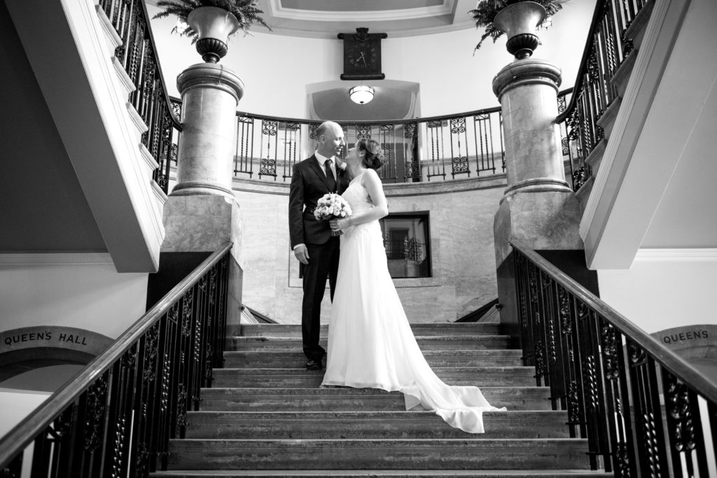 bride and groom at ealing town hall