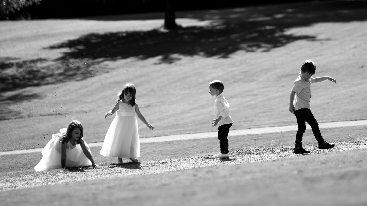 Sussex wedding photographer capturing kids as they do their thing at Ashdown Park Hotel wedding