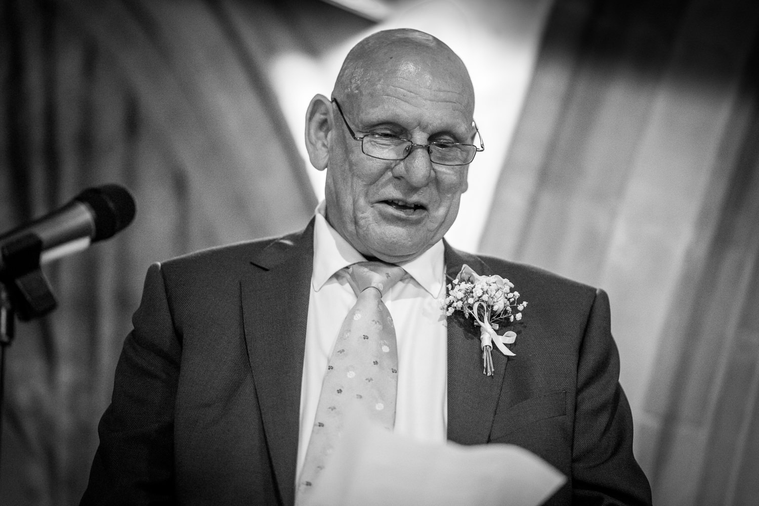 Father of bride makes his speech at Ashdown Park Hotel wedding