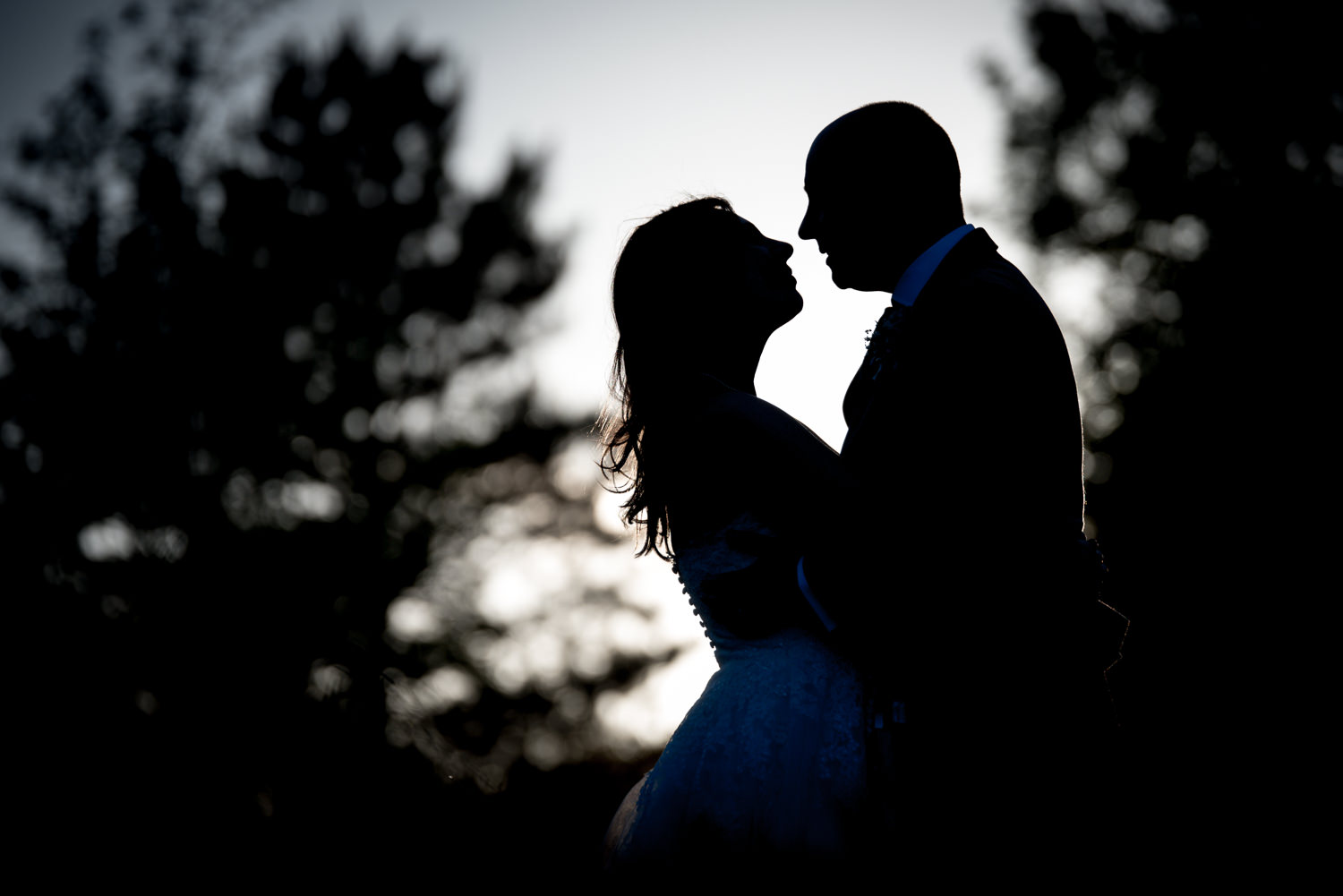 silhouette of bride and groom at Ashdown Park Wedding