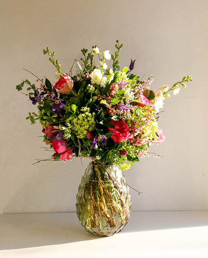 Mixed flower bouquet for an anniversary present, created by north London florist Garland