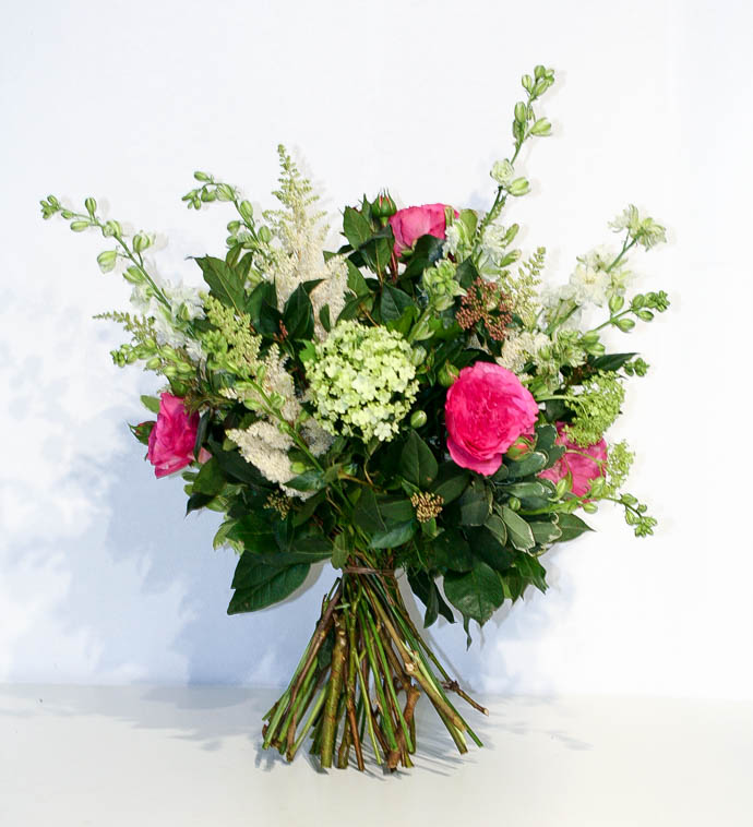 Garden Style bouquet for delivery in North London, with viburnum and Larkspur